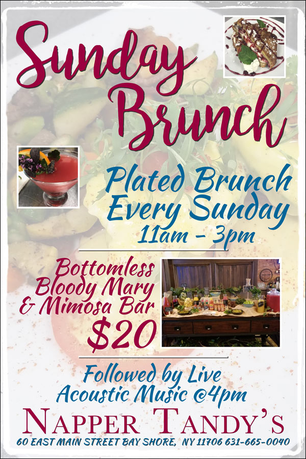 Sunday Brunch - Plated Brunch 11am - 3pm - Bottomless Bloody Mary & Mimosa Bar $20